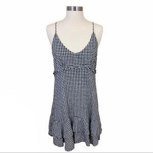Rails Martina Gingham Print Ruffle Linen Dress